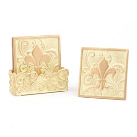 Edwardian Fleur-de-lis Cream Coaster Set