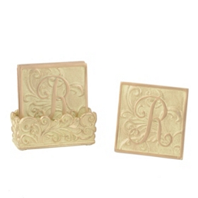 Edwardian Monogram R Cream Coaster Set
