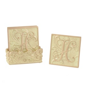 Edwardian Monogram H Cream Coaster Set