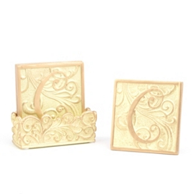 Edwardian Monogram C Cream Coaster Set