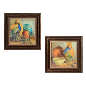 Jeweled Peacock Framed Art Print, Set of 2