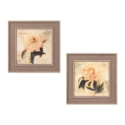 White Flower Jeweled Framed Art Print, Set of 2