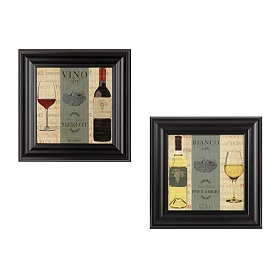 Vino Bianco Framed Art Prints, Set of 2