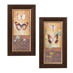 Butterfly Botanical Framed Art Print, Set of 2