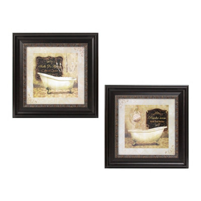 French Bath Framed Art Print, Set of 2