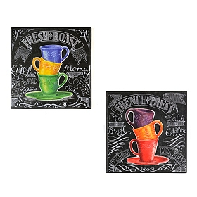 Colorful Chalkboard Coffee Wall Plaque, Set of 2