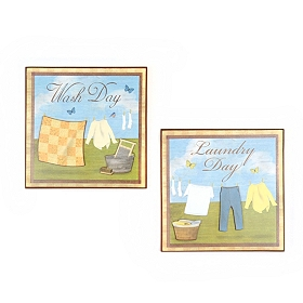 Laundry Day Wall Plaque, Set of 2