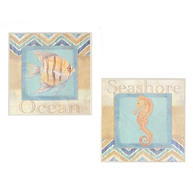 Chevron Seashore Wall Plaque, Set of 2
