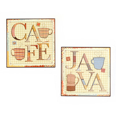 Patchwork Café & Java Wall Plaque, Set of 2
