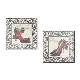 Black & White Damask Heels Wall Plaque, Set of 2