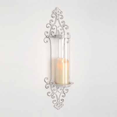 Cottage Chic Cream Scroll Sconce