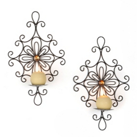 Jeweled Scroll Sconce, Set of 2