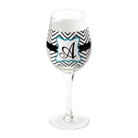 Chevron Blue Monogram A Wine Glass