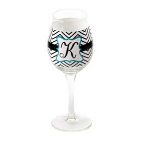 Chevron Blue Monogram K Wine Glass