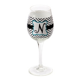 Chevron Blue Monogram N Wine Glass