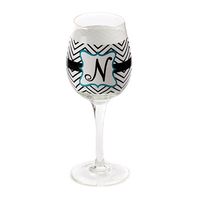 Chevron Blue Monogram N Wine Glass