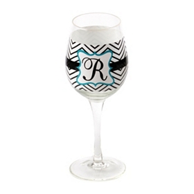 Chevron Blue Monogram R Wine Glass