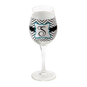 Chevron Blue Monogram S Wine Glass