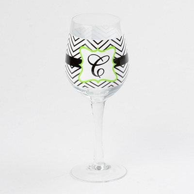 Chevron Green Monogram C Wine Glass