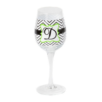 Chevron Green Monogram D Wine Glass