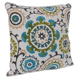 Blue Flower Garden Pillow