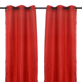 Red Raw Silk Curtain Panel Set, 84 in.