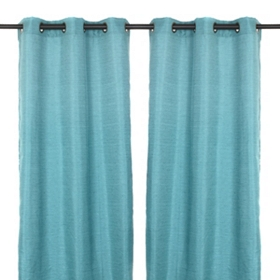 Teal Raw Silk Curtain Panel Set, 84 in.