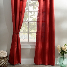 Red Raw Silk Curtain Panel Set, 96 in.