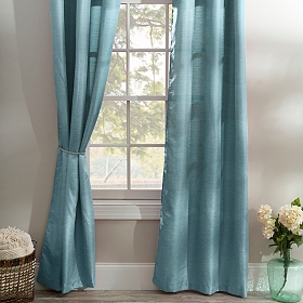 Teal Raw Silk Curtain Panel Set, 96 in.