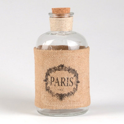 Burlap Paris Corked Bottle