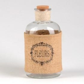 Burlap Fleurs Corked Bottle