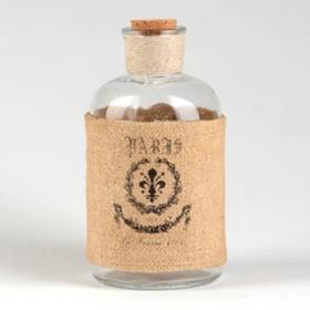 Burlap Fleur-de-Lis Corked Bottle