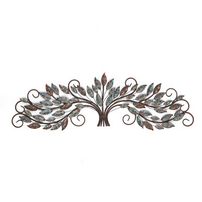 Scrolled Leaf & Branches Metal Wall Art