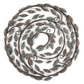 Metal Scrolled Leaf Wall Plaque