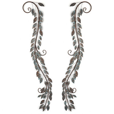Scrolled Leaf Metal Wall Art, Set of 2
