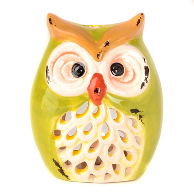 Green Owl Tealight Candle Holder