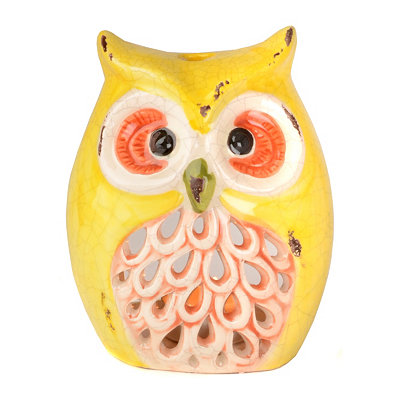 Yellow Owl Tealight Candle Holder