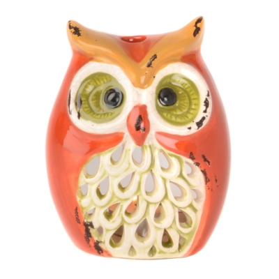 Orange Owl Tealight Candle Holder