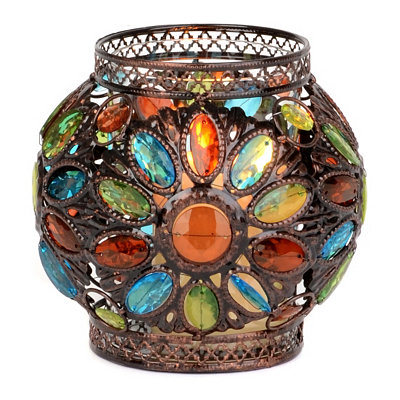 Blue & Green Jeweled Candle Holder