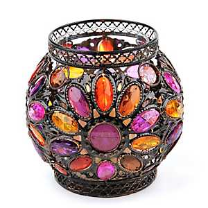 Pink & Orange Jeweled Candle Holder