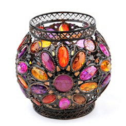 Pink & Orange Jeweled Candle Holder