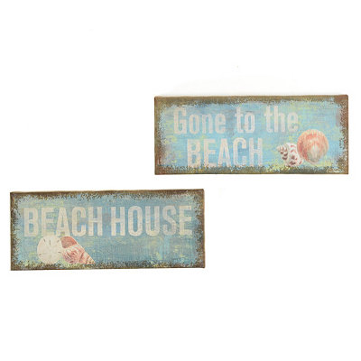 Beach House Burlap Box Plaques