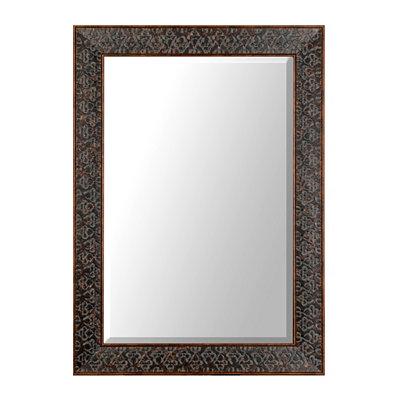 Embossed Distressed Black Framed Mirror, 32x44 in.