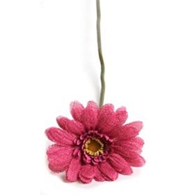 Pink Burlap Daisy Stem