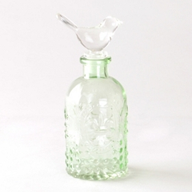 Green Bird Topper Glass Jar