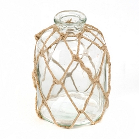 Clear Jute-Wrapped Glass Vase