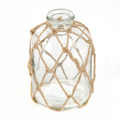 Clear, Jute-Wrapped Glass Vase