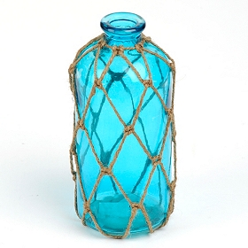 Blue Jute-Wrapped Glass Vase