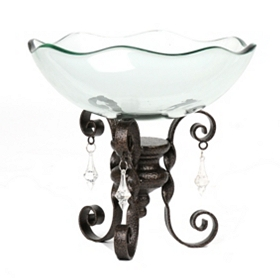 Glass Bowl with Chandelier Scroll Stand