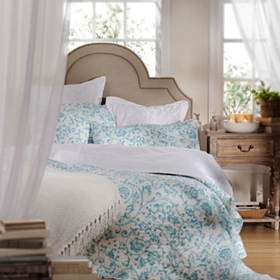 Aqua Scroll 3-pc. Queen Quilt Set